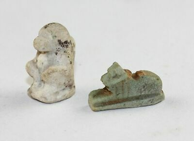 *Sc* Lot Of Egypt 2 Faiance Amulets Depicting Amun And Thot The Baboon!
