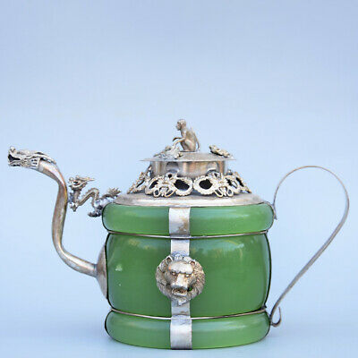 Collectable China Old Miao Silver Armour Agate Carve Lion & Monkey Luck Tea Pot