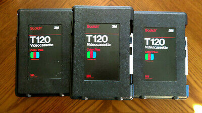 3M Scotch T120 Professional Hard Shell VHS Case Lot of 3 Complete w/Stickers