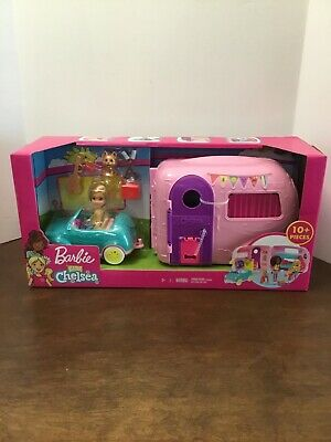 Barbie Club Chelsea Camper Playset with Chelsea Doll Puppy Car Camper Fire