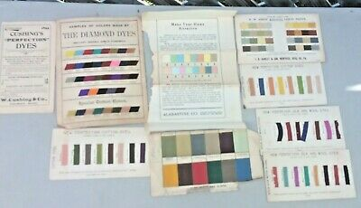 1890's Lot Cushing's Perfection Diamond Dye's Wool Dye Samples and Color Charts
