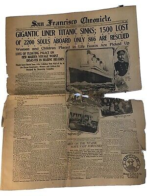 Rare Vintage Original Titanic Newspaper From The San Francisco Chronicle in 1912