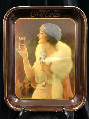 Vintage 1925 Authentic Coca-Cola Serving Tray White Fox Flapper Lady Good Cond