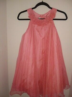 Bonnie Jean 14 Girls Dress Long Fancy Pink Sleeveless Dress with White Polka Dot