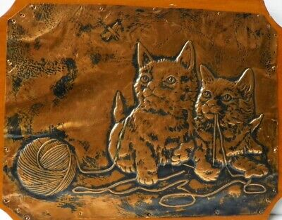 So Cute! 🐱 KITTENS w/ Ball of Yarn 🐱 Vintage TOOLED COPPER Hanging Plaque