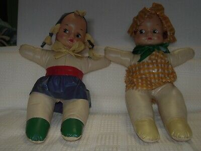 "2 Vintage Molded Oil Cloth Dolls All original 10"" tall"