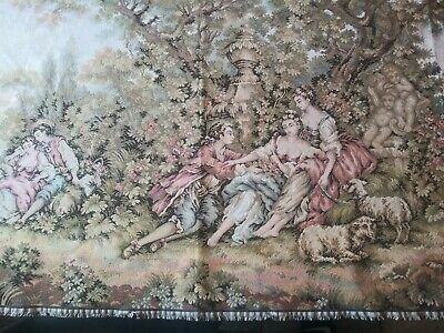 """Large Antique French Tapestry 43"""" by 28"""" 18th Century romantic interlude"""