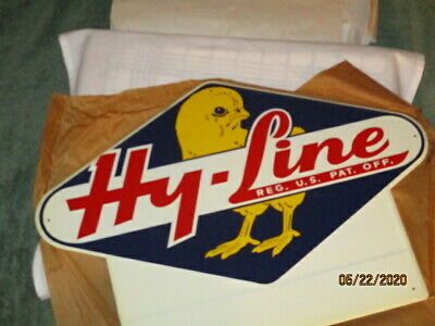 """Vtg 1950s 60's Poultry Chicken embossed metal sign, orig wrapping 20"""" by 14""""  EX"""