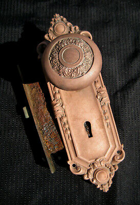Antique Vintage Victorian Copper DOOR KNOB & KEY BACK PLATE Found in Woods in PA