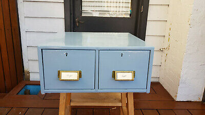 Vintage 2 drawers industrial metal card index filing cabinet 47x43.5x20.5xm 3121