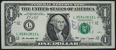 2009 $1 (One Dollar) – Note, Bill - Serial Number & Green Seal Low Error