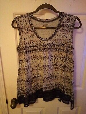 Dkny-Sleeveless Top-Small W/ Black, Grey, And Pink With Black Mesh Detail Trim