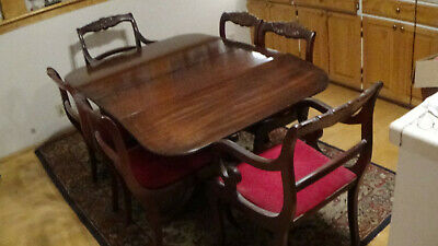 1930 Mahogany Dinning Room Set by Brandt, Table, 6 Chairs, Buffet