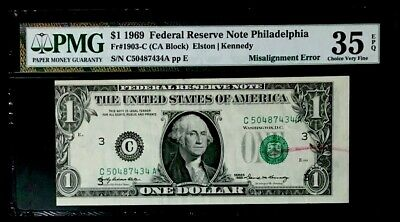 1969 $1 Second Print Misaligned Error With Rejection Mark Pmg #35 Epq Choice Vf