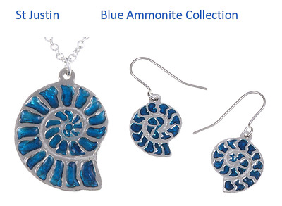 Blue Ammonite Jewellery - Pendant / Necklace - Drop Earrings - St Justin Pewter