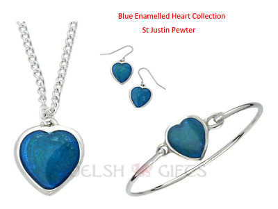 Blue Enamelled Heart Jewellery - Earrings / Pendant / Bangle - St Justin Pewter