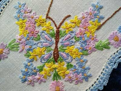 Gorgeous Butterfly of Flowers   Vintage Hand embroidered Sandwich Doily