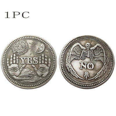 Yes / No Ouija Coin Gothic Prediction All Seeing Eye Occult Death Angel Gift UK