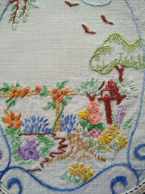 Charming Cottage Garden/Dove Cote/Arbour  Vintage Hand Embroidered Doily