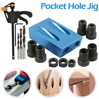 15pcs Pocket Hole Jig Kit Woodworking Guide Oblique Drill Angle Hole Locator sf