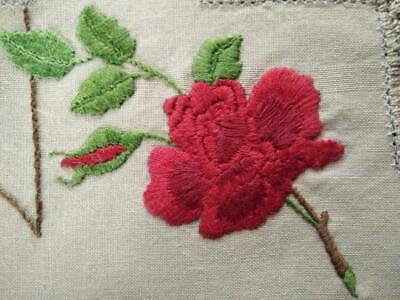 Gorgeous Red Rose & Bud  Vintage Hand Embroidered Doily