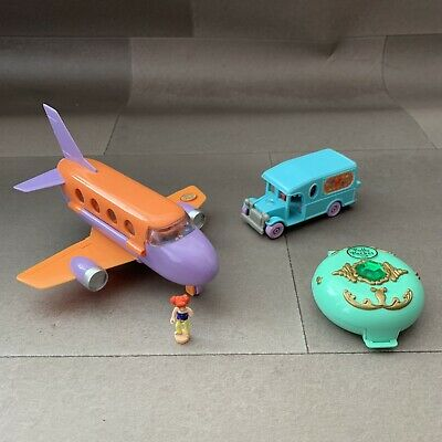 Polly Pocket Jewelled Forest 1992 Tour Jet Airplane 98 & Cafe On The Go Van 1996