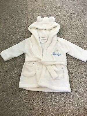 """Baby Dressing Gown Personalised """"george"""" 6month-18 Months"""
