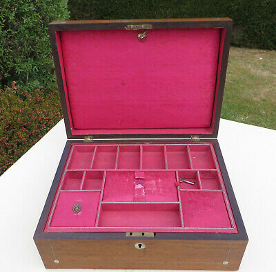 Antique Ladies Rosewood & MOP Vanity/Dressing/Sewing/Work Box with Tray