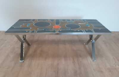 French tile top and chrome base coffee table