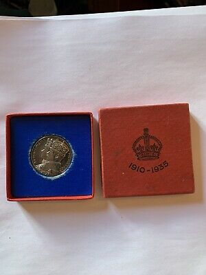 1937 GEORGE VI & ELIZABETH CORONATION MEDAL SILVER COIN 15 gr 32mm & BOX