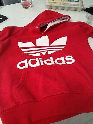 Girls Red Adidas Hoody With Front Pocket Age Approx 10-12 Years