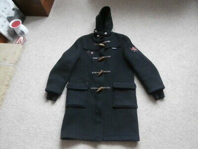 Gloverall  BLACK    HOODED Duffle Coat - Age 12 , 70% WOOL  TOP CONDITION