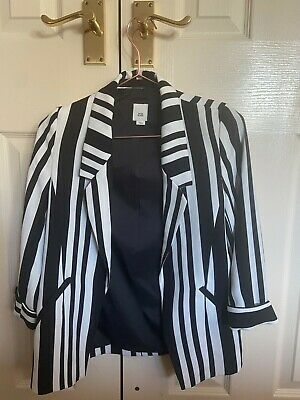 Girls River Island Blazer, Black & White Striped Jacket, Aged 11 Years