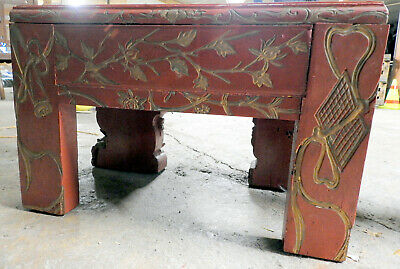 Ornately carved Chinese Wooden table. Requires light restoration.