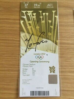 2012 London Olympic Personally Signed Ticket Olympic Gold Medal Winner Mo Farah