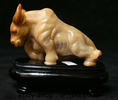 """5"""" Natural Shoushan Stone Carved Zodiac Animal Strong Bull Oxen Cattle Statue"""