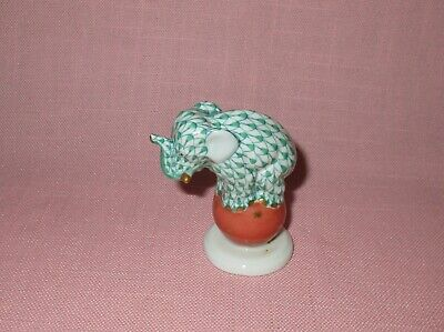 Herend Porcelain Gold Gilded Green Fishnet Figure Elephant Dancing on Ball 2.5""