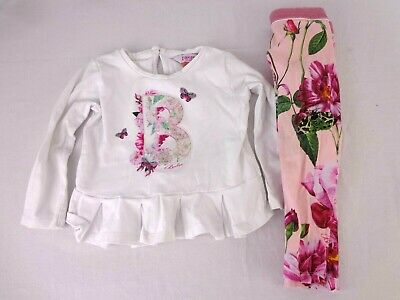Baby Girls Ted Baker Outfit Age 2 - 3 Years Old Pink White Top Leggings Roses