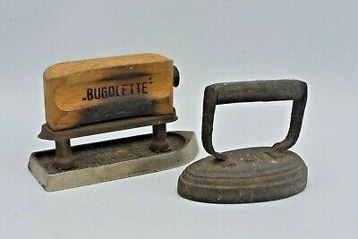 Two Flat Iron Collectables - Bugolette Collar Iron & Number 0 Cast Flat Iron.