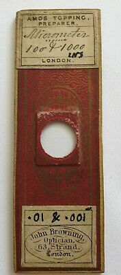 """Very Fine Antique Microscope Slide """"Micrometer 100&1000 Ins."""" By Amos Topping"""