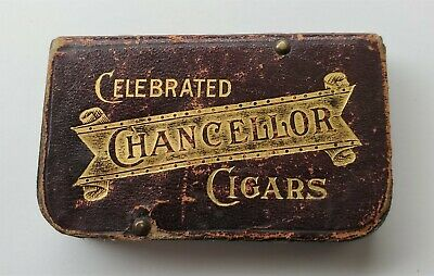 Vintage Tool Advertising Old Matchsafe Celebrated Chancellor Cigar Leather Wrap
