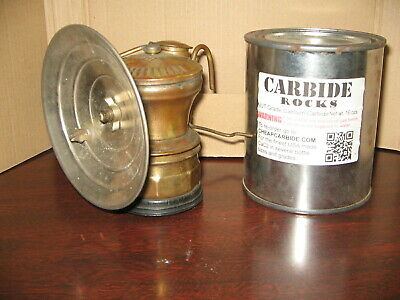 AUTO-LITE MINERS CARBIDE LAMP-WORKING with Can of Carbide Rocks