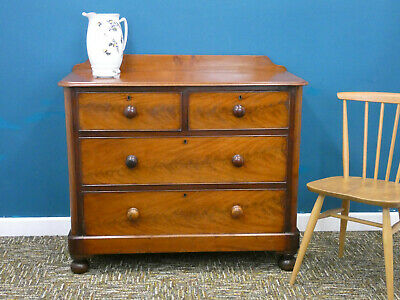 Antique Mahogany Chest of Drawers, traditional Edwardian flame veneer Northants