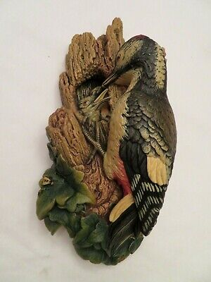 Bossons WOODPECKER on a Tree Vintage Chalkware Wall Art Plaque 3D Sculpture