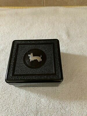 Vintage Plastic Black Box with Lid and Silver Scottie Dog on Lid