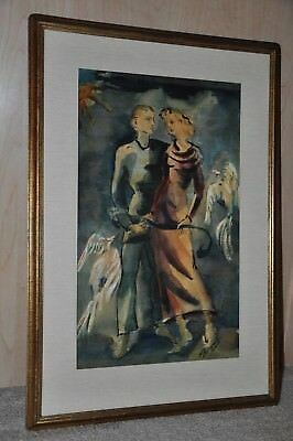 Antique Period French Art Deco Watercolor / Beautiful, Original Work of Art