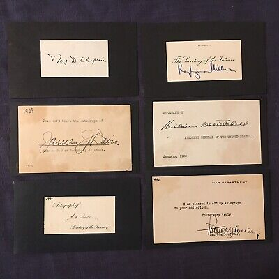 Lot of 6 Autographs Hoover Administration Cabinet Roy Chapin  J Davis  P Hurley