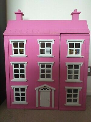 Wooden Toy Pink Girls Dolls House With Furniture & stairs.