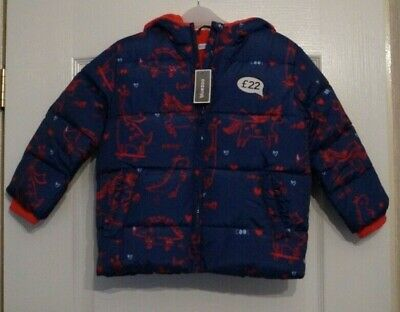 Girls Debenhams Bluezoo Navy Red Dinosaur Unicorn Padded Jacket Coat Age 5-6 Yrs