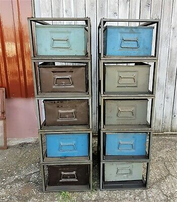 Stapelkisten Stapelbox Metall 70er  Industriedesign Schrank Loft vintage Regal 3